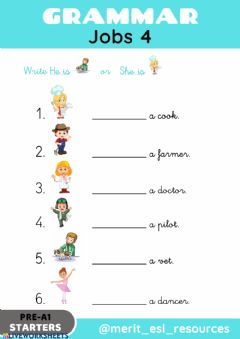 Interactive worksheet Jobs - Write He is-She is