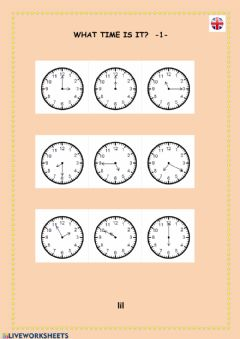 Interactive worksheet What time is it? -1