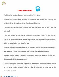 Interactive worksheet Housekeeping