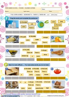 Interactive worksheet Sentences There is There are - a - an - some (any) with food