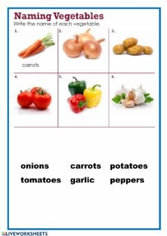 Interactive worksheet Naming vegetables - 1
