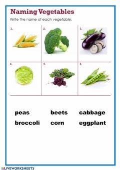 Interactive worksheet Naming vegetables - 2