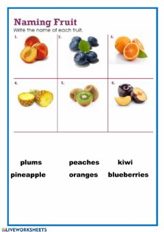 Interactive worksheet Naming fruits - 2