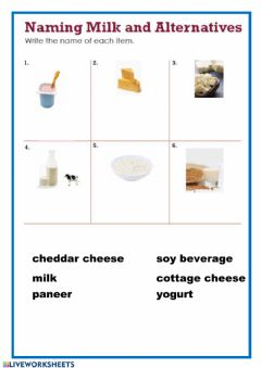 Interactive worksheet Naming milk 1
