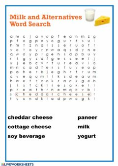 Interactive worksheet Milk wordsearch