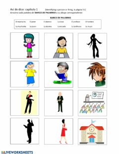 Interactive worksheet Así se dice capítulo 1: Identifying a person or thing, página 51