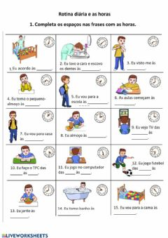 Interactive worksheet Rotina diária e as horas
