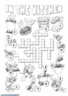Interactive worksheet In the kitchen - crossword