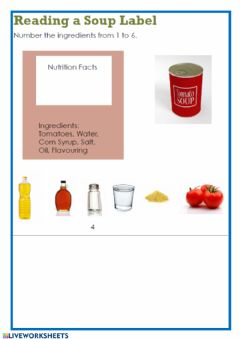 Interactive worksheet Label food