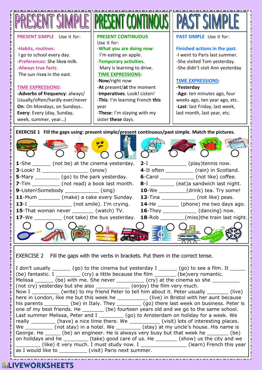 Present Simple Present Continuous Past Simple Worksheet