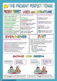 Present Perfect: ever - never, just, gone - been worksheet preview
