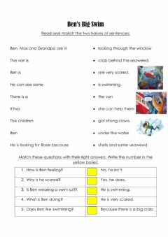 Interactive worksheet Ben's big swim activity 4
