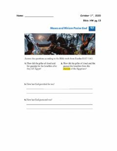 Interactive worksheet Crossing the Red Sea