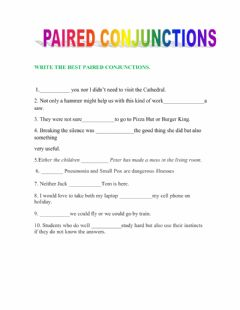 Interactive worksheet Paired Conjunctions