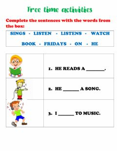 Interactive worksheet Free time activities - 3rd primary