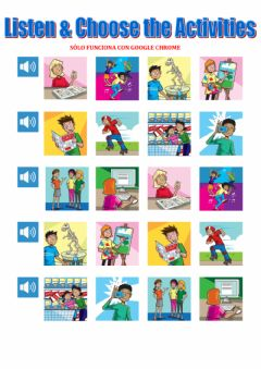 Ficha interactiva Listen, repeat and choose free time activities tiger 4 macmillan