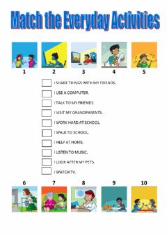 Interactive worksheet Everyday activities match tiger 5 macmillan