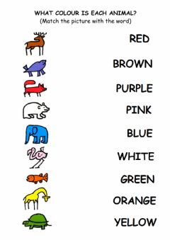 Ficha interactiva WHAT COLOUR IS EACH ANIMAL?