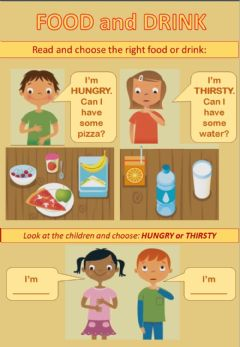 Interactive worksheet HUNGRY and THIRSTY