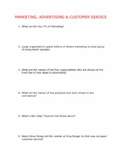 Interactive worksheet Marketing, Advertising & Customer Service