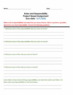 Interactive worksheet Rules and responsibilities project