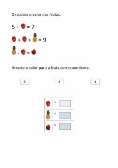 Interactive worksheet Descubra o valor das frutas