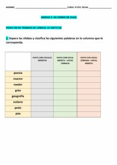 Interactive worksheet Ficha 8 LCL T-3 5º EPO
