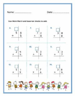Ficha interactiva Add one – digit number to two-digit number by Regrouping