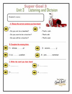 Interactive worksheet Unit3 quiz listening and dictation
