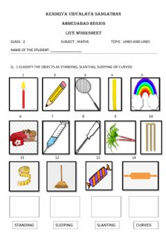 Ficha interactiva Class 2 maths -lines and lines