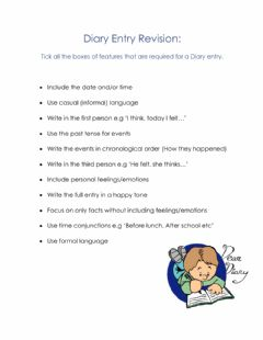 Interactive worksheet Diary Entry revision