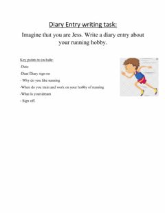 Interactive worksheet Diary entry task