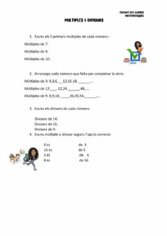 Interactive worksheet Multiples i divisors