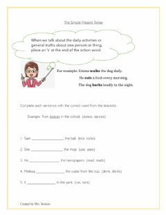 Interactive worksheet Simple Present Tense - Singular