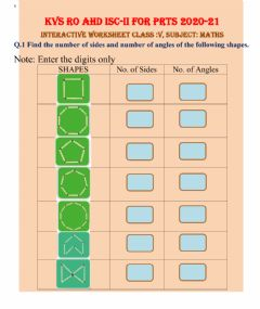 Interactive worksheet Sides and Angles of 2D shapes