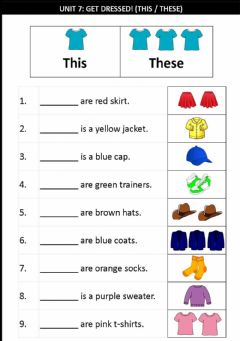 Interactive worksheet Unit 7:Get Dressed! (This & These)