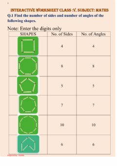 Ficha interactiva Sides and Angles of 2D shapes