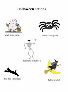 Interactive worksheet Halloween actions