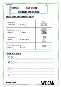 Interactive worksheet U3 my body Rhythms and sounds