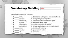 Interactive worksheet MG3 U3 L7 Building Vocabulary - Ecotourism