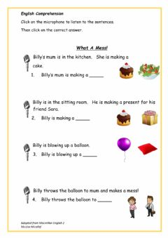 Interactive worksheet What A Mess!