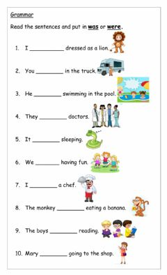 Interactive worksheet Was and were