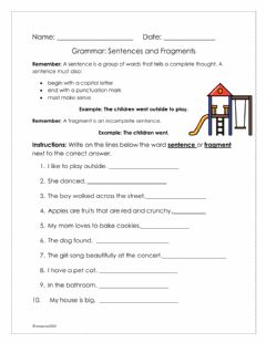 Interactive worksheet Sentence and Fragment