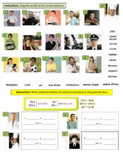 Interactive worksheet People in town jobs & professions