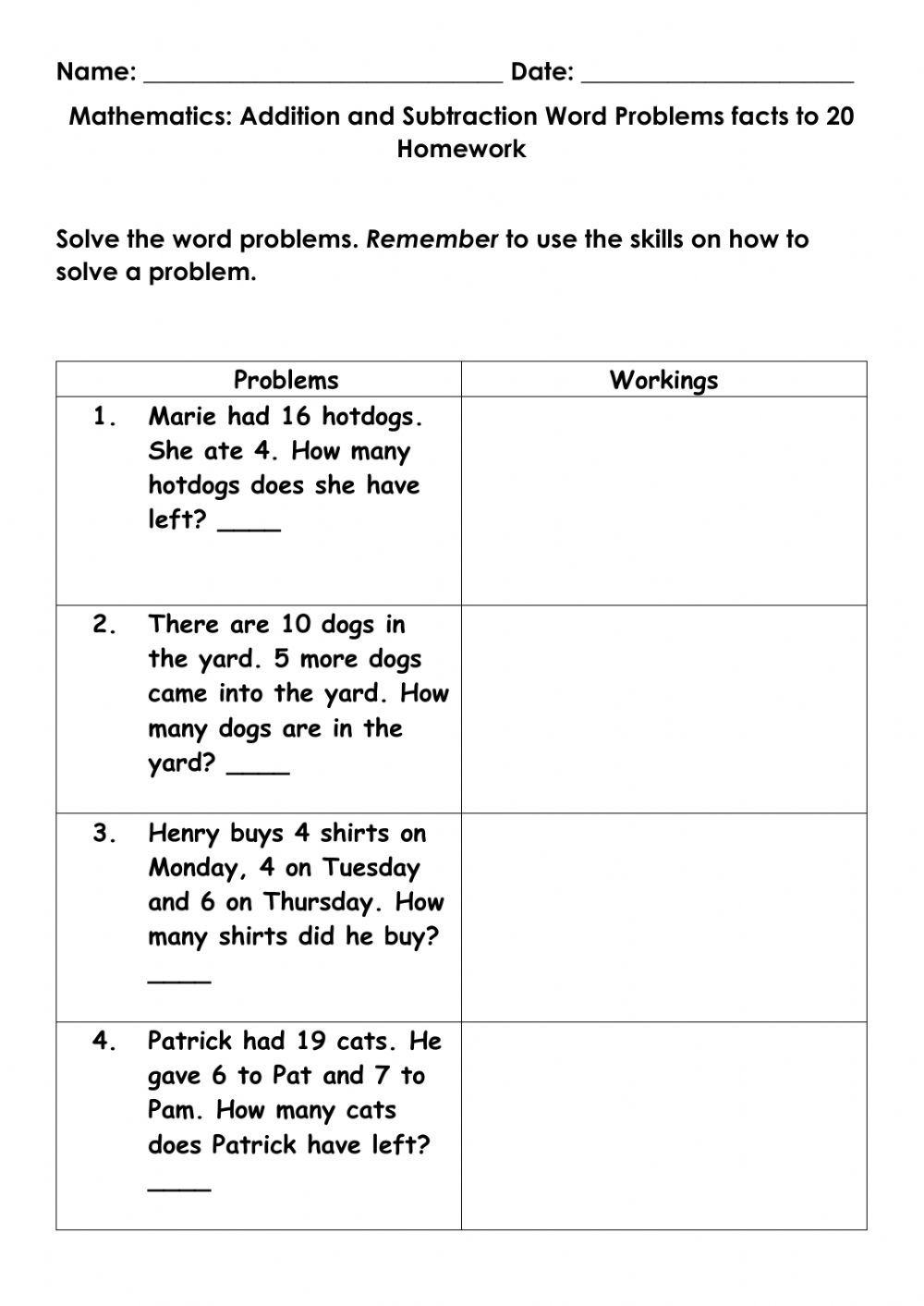 Mathematics Addition and Subtraction word problem facts to ...