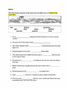Interactive worksheet Daniel in the Lions Den