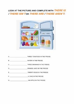 Interactive worksheet There is-isn't- there are-aren't