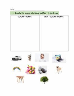 Interactive worksheet Life cycle and living and non-living things