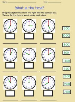 Ficha interactiva Telling Time on the Hour 2