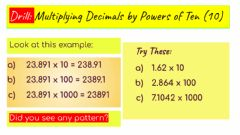 Interactive worksheet Powers of Ten Multiplication (Decimals)